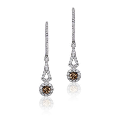 Grand Sample Sale™ by Le Vian® Chocolatier® Chocolate & Vanilla Diamonds™ Earrings in 14k Vanilla Gold®