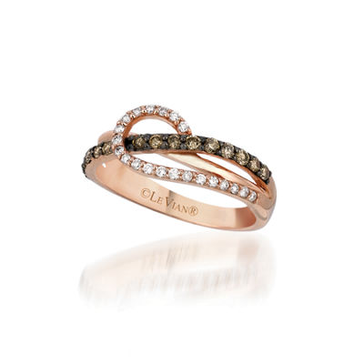 Grand Sample Sale™ by Le Vian® Chocolatier® Ocean Wave™ Chocolate & Vanilla Diamonds™ Ring in 14k Strawberry Gold®