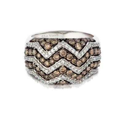 Grand Sample Sale™ by Le Vian® Chocolatier® Chevron™ Chocolate & Vanilla Diamonds™ Ring in 14k Vanilla Gold®