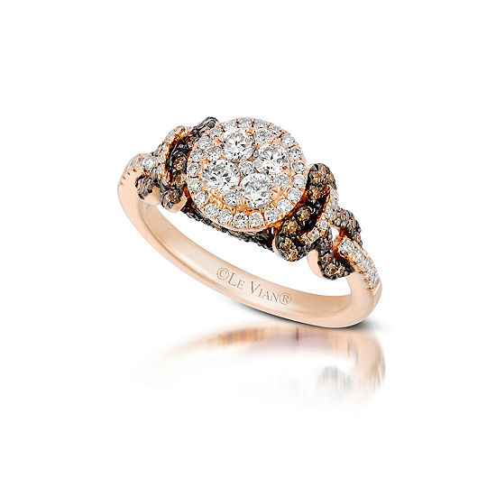 LIMITED QUANTITIES Le Vian Grand Sample Sale™ Ring featuring Vanilla Diamonds®, Chocolate Diamonds® set in 14K Strawberry Gold®