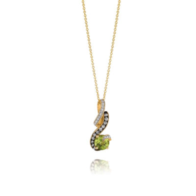 Grand Sample Sale™ by Le Vian® Green Apple Peridot™ & Chocolate & Vanilla Diamonds™ Pendant in 14k Honey Gold™