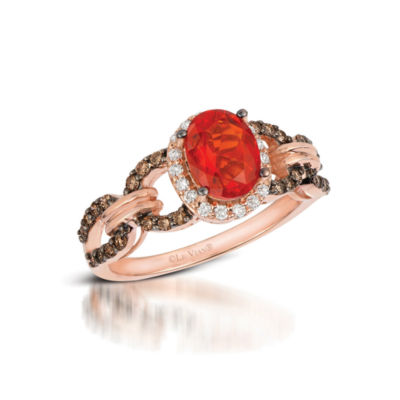 Grand Sample Sale™ by Le Vian® Neon Tangerine Fire Opal® and Chocolate & Vanilla Diamonds™ Ring in 14k Strawberry Gold®