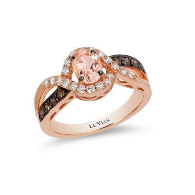 Grand Sample Sale™ by Le Vian® Peach Morganite™ and Chocolate & Vanilla Diamonds™ Ring in 14k Strawberry Gold®