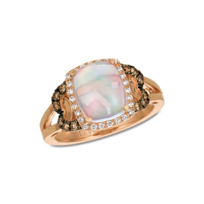 Grand Sample Sale™ by Le Vian® Neopolitan Opal™ and Chocolate & Vanilla Diamonds™ Ring in 14k Strawberry Gold®