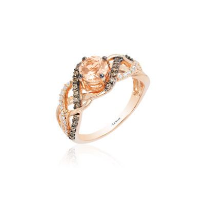 Grand Sample Sale™ by Le Vian® Peach Morganite™ and Chocolate & Vanilla Diamonds™ Ring in 14k Strawberry Gold®