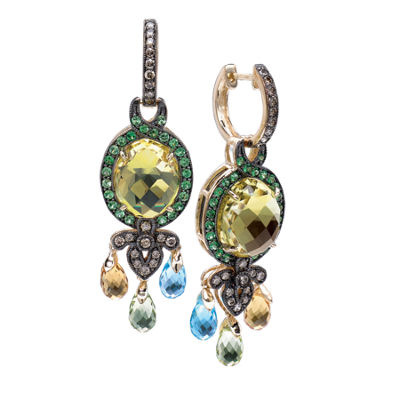 Grand Sample Sale™ by Le Vian® Lemon Quartz, Cinnamon Citrine®, Ocean Blue Topaz™ , Forest Green Tsavorite™, and Chocolate Diamonds® Earrings in 14k Honey Gold™