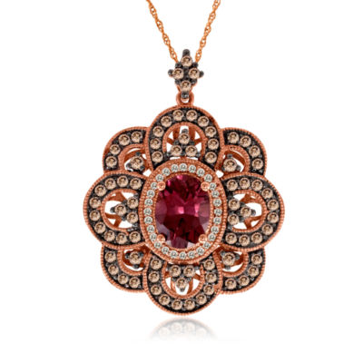 Grand Sample Sale™ by Le Vian® Raspberry Rhodolite® and Chocolate & Vanilla Diamonds™ Pendant in 14k Strawberry Gold®