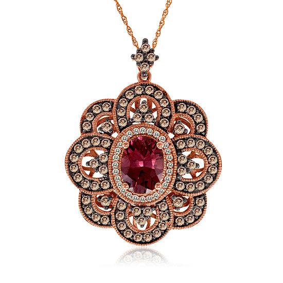 LIMITED QUANTITIES Le Vian Grand Sample Sale™ Pendant featuring Raspberry Rhodolite®, Chocolate Diamonds®, Vanilla Diamonds® set in 14K Strawberry Gold®