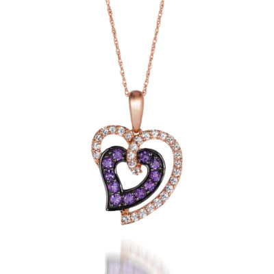 Grand Sample Sale™ by Le Vian® Grape Amethyst™ and Vanilla Sapphires™ Heart Pendant in 14k Strawberry Gold®