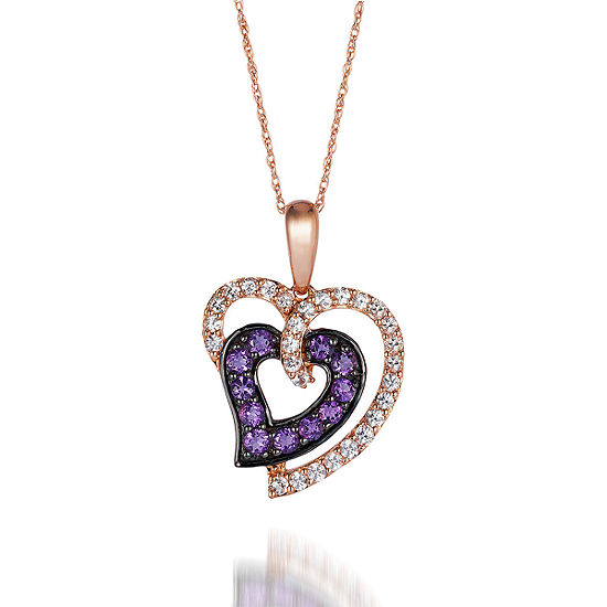LIMITED QUANTITIES Le Vian Grand Sample Sale™ Pendant featuring Grape Amethyst™, White Sapphire, set in 14K Strawberry Gold®
