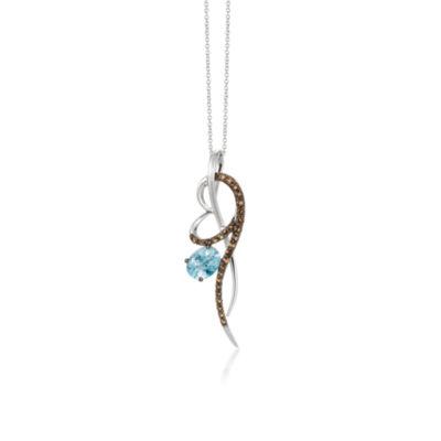 Grand Sample Sale™ by Le Vian® Sea Blue Aquamarine® and Chocolate Quartz® Pendant in 14k Vanilla Gold®