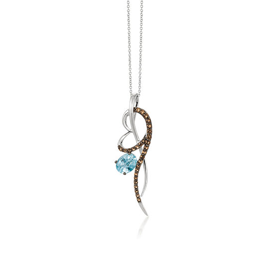 LIMITED QUANTITIES Le Vian Grand Sample Sale™ Pendant featuring Sea Blue Aquamarine®, Chocolate Quartz®, set in 14K Vanilla Gold®