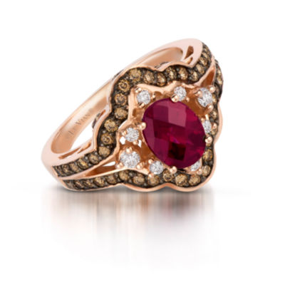 Grand Sample Sale™ by Le Vian® Raspberry Rhodolite® and Chocolate & Vanilla Diamonds™ Ring in 14k Strawberry Gold®