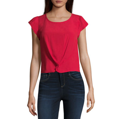 Eyeshadow Womens Scoop Neck Short Sleeve Blouse-Juniors