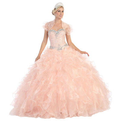 Strapless Ruffled Layered Ball Gown With Bolero Jacket - Juniors