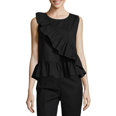 Worthington Womens Crew Neck Sleeveless Poplin Ruffled Blouse-Petite