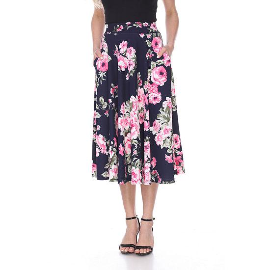 White Mark Womens Midi Flared Skirt