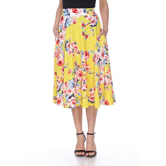 White Mark Flower Print Midi Flare Skirt
