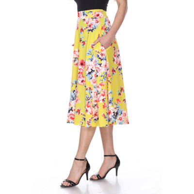White Mark Flower Print Midi Flare Skirt