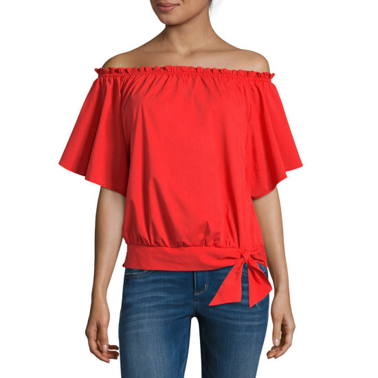 Belle + Sky Off The Shoulder Tie Waist Blouse