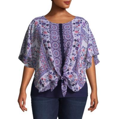 Alyx Short Sleeve Round Neck Knit Blouse - Plus
