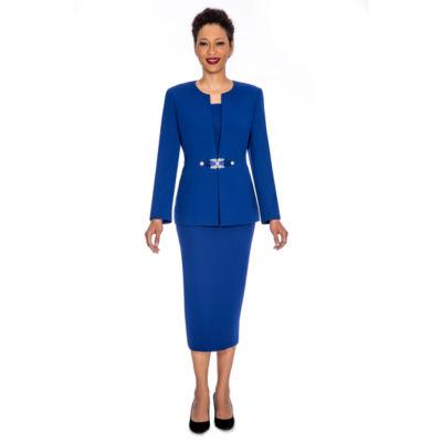 Giovanna Signature Women's Rhinestone Brooch 3-piece Skirt Suit- Plus