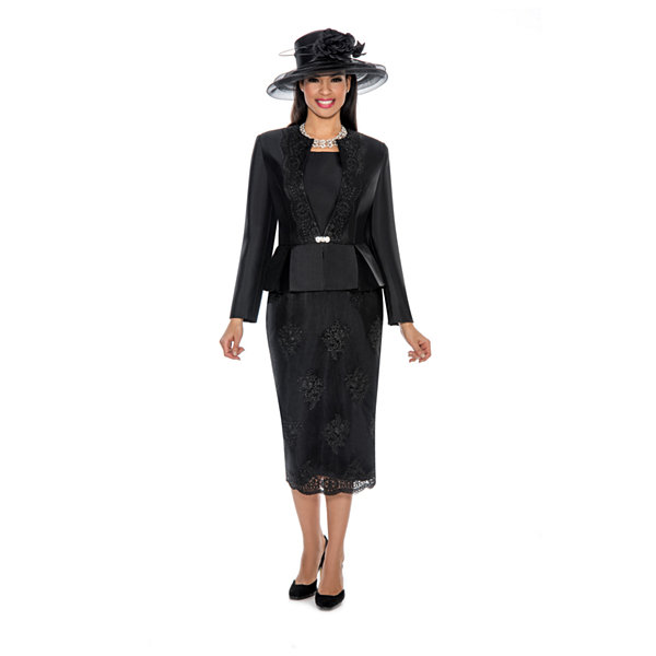 Giovanna Collection Women's Soutache Embellished Peplum 3 Piece Skirt Suit