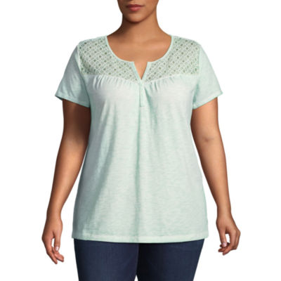St. John's Bay® Short Sleeve Lace Garment Wash Tee - Plus