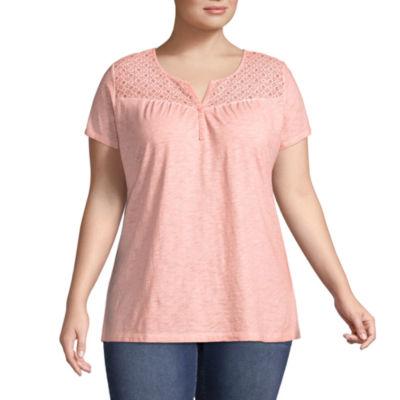 St. John's Bay® Short Sleeve Lace Garment Wash Tee - Plus