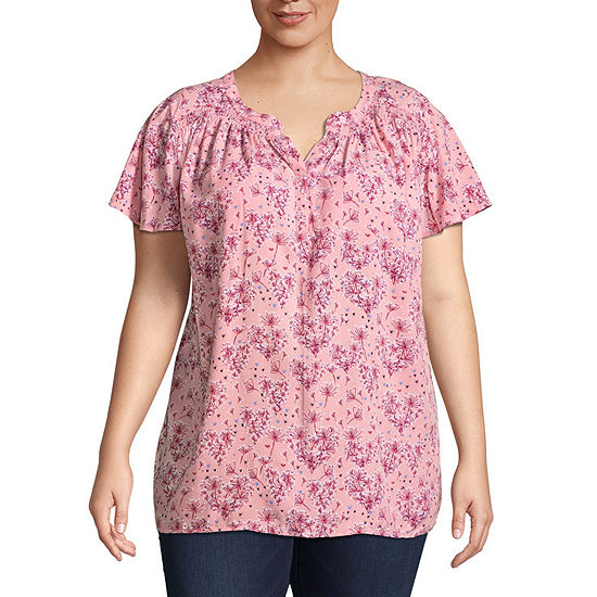 St Johns Bay Short Sleeve Shirred Y Neck Blouse Plus