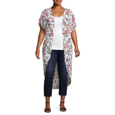 Boutique + Short Sleeve Kimono - Plus