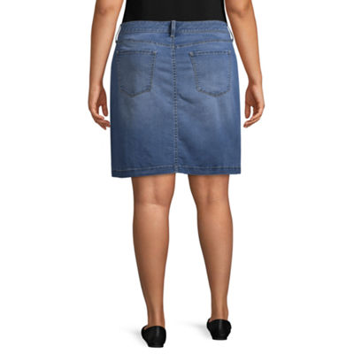 Boutique + Denim Skirt - Plus