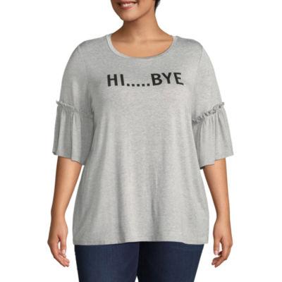 Boutique + Elbow Sleeve Scoop Neck Graphic T-Shirt - Plus
