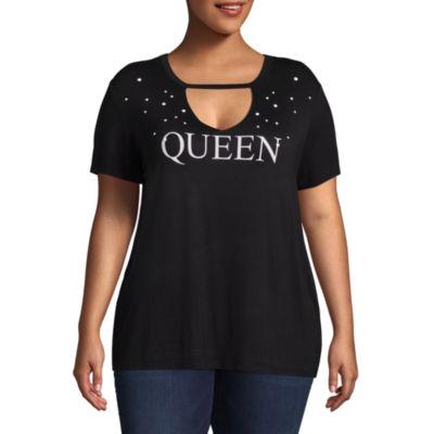 Boutique + Short Sleeve Scoop Neck T-Shirt - Plus