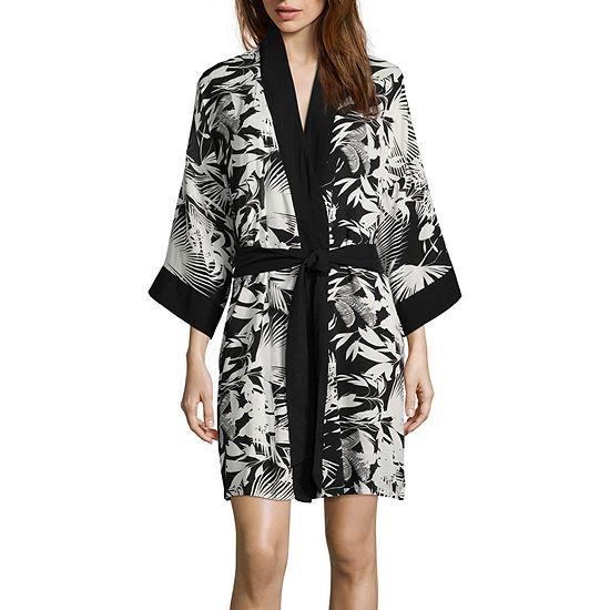 Ambrielle 3/4 Sleeve Woven Kimono Robe