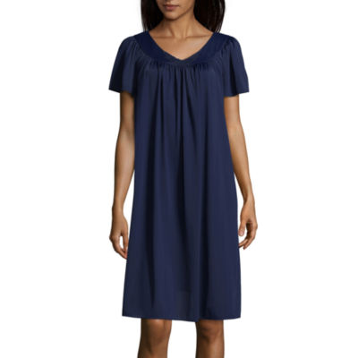 Collette By Miss Elaine Womens Tricot Short Sleeve V Neck Nightgown