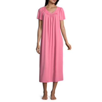 Collette By Miss Elaine Tricot Short Sleeve Round Neck Nightgown