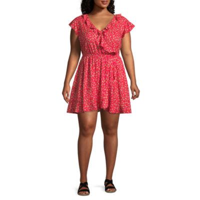 Arizona Short Sleeve Floral Wrap Dress-Juniors Plus