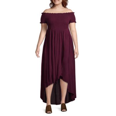 Arizona Short Sleeve Floral Maxi Dress-Juniors Plus