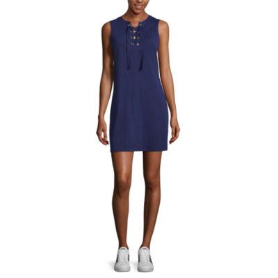 Arizona Sleeveless A-Line Dress-Juniors