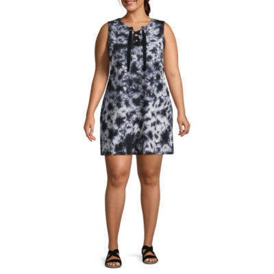 Arizona Sleeveless Tie Dye A-Line Dress-Juniors Plus
