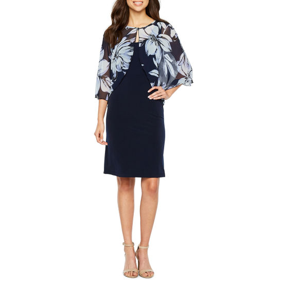 Connected Apparel 3/4 Sleeve Cape Floral Sheath Dress