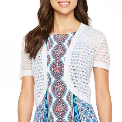 Ronni Nicole Womens Short Sleeve Pattern Shrug