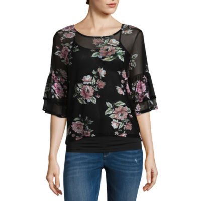 Almost Famous Long Sleeve Scoop Neck Mesh Blouse-Juniors