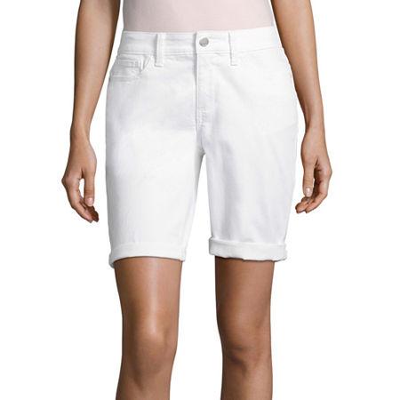 a.n.a Modern Fit Denim Bermuda Shorts, 0 , White