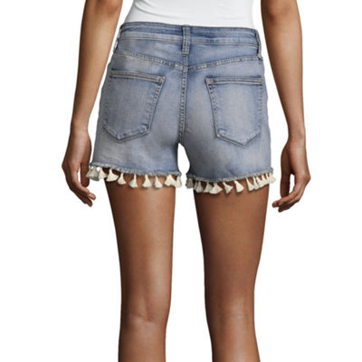 "a.n.a Tassle Denim Shorts (3 1/2"")"