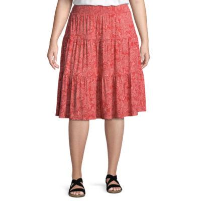 St. John's Bay® Midi Tiered Skirt - Plus