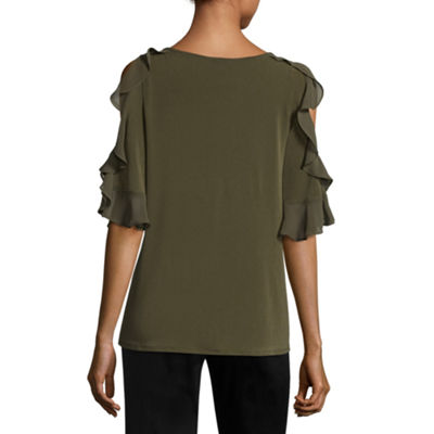Worthington 3/4 Sleeve Cold Shoulder Ruffle Blouse