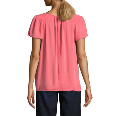 St. John's Bay Short Sleeve Round Neck Crinkle Blouse