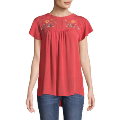 St. John's Bay Womens Round Neck Short Sleeve Crinkle Embroidered Blouse